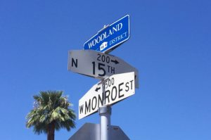 Woodland Historic District Street Sign Downtown Phoenix AZ