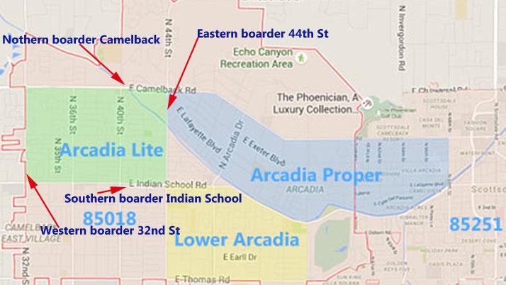 Arcadia Neighborhood Map Phoenix AZ