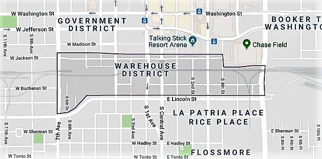 Downtown Phoenix Warehouse District Map