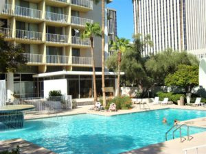 Pool Area at Executive Towers Historic High Rise on Central Ave in Phoenix