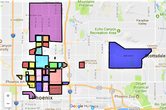 Historic Downtown Central Phoenix Districts Homes Map